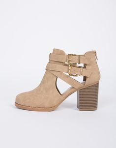 These Double Buckled Ankle Booties are perfect for everyday and goes with everything. Comes in taupe, black, and camel. Looks perfect paired with anything from rompers to your distressed jeans.