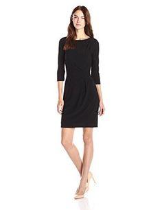 Lark & Ro Women's 3/4 Sleeve Side Ruched Jersey Knit Sheath Dress