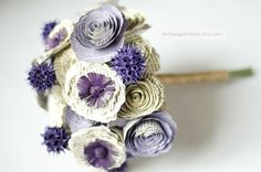 Book page bridal bouquet custom made to your colors. ::  Example shown in Ivory, French Lilac, Grape, and Dark Purple. $95.00