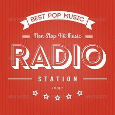 Radio Poster #GraphicRiver Retro Poster for Pop Music Radio Files in Pack: Vector Eps 10 – Font is not editable. You can change color swatches. Label is monoprint. You will need a vector editor to use this file (such as Adobe Illustrator, Corel Draw or free Open Source software Inscape) Hi-res Jpeg file – same as preview Transparent Hi-res Png file (black version of label on transparent background) for Photoshop users Created: 7August13 GraphicsFilesIncluded: TransparentPNG #JPGImage…