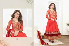 Beautiful Orange Georgette anarkali With heavy work of embroidery en-crafted all over with a pinch of Maroon at the bottom. Matching Shantoon Bottom and Maroon Chiffon Duppatta with fine work of embroidery and golden border included.