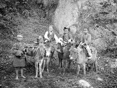 100 year old picture of Indian kids with their donkeys