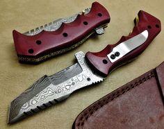 Damascus Folding Knife Tracker-7614