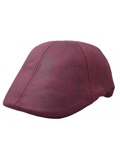 bbe6562e Men's Leather Feel Ivy Newsboy Duckbill Cap Hat - Burgundy - CP17YH9R9M0