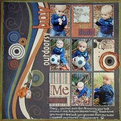 love the blues and browns and lots of photos... (6 small photos, border, curves, circles)