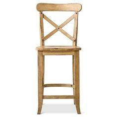 "French Country X-Back 24"" Counter Stool Hardwood - WHEAT"