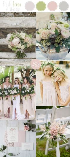 blush, fresh green and ivory elegant rustic garden wedding colors