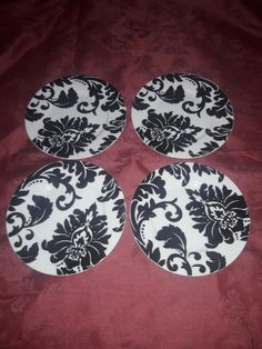 "NEW NANETTE LEPORE Damask 8"" Porcelain Salad Plates Set of 4 Black & White #NanetteLepore Damak #salad  #plates"
