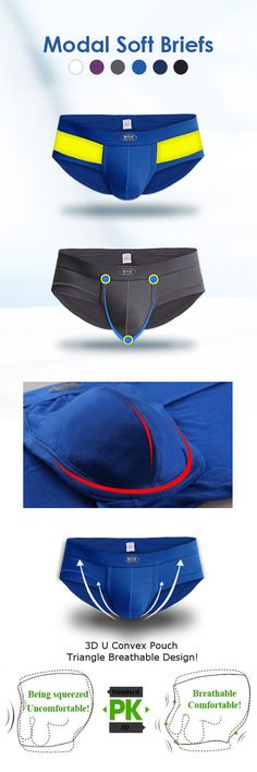 US$5.89#Sexy Modal Underwear Casual Sport Breathable Mid-Rise U Convex Pouch Briefs For Men
