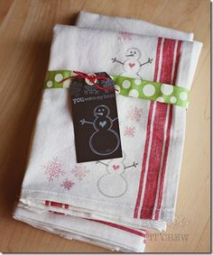 Good idea - hand stamped dish towels..  Like the stamp set also