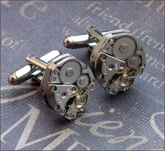 A personal favorite from my Etsy shop https://www.etsy.com/listing/151741717/silver-steampunk-cufflinks-enchanted