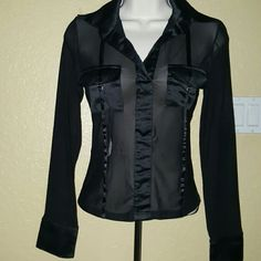 Sexy sheer blouse. Amazing black blouse with exaggerated cuffs & collar. Ribbons up  front for added cute touch. Wear a cute bra under or nothing at all, pockets provide coverage. New condition Clothes Compact USA Tops Blouses