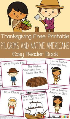 Thanksgiving Free Printable Easy Reader Book with Pilgrims and Native Americans: Choose to print out the black and white coloring page version or the full color version, assemble, and watch your child learn to read. (Kindergarten, First Grade, November, Language Arts, Emergent Reader)