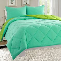 Amazon.com: Super Soft Goose Down Alternative 3-Piece REVERSIBLE Comforter Set- All Sizes And Many Colors Available , Full/Queen, Navy/Aqua: Home & Kitchen