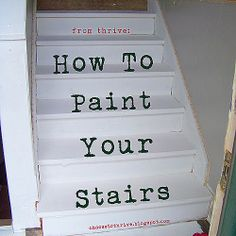 How To Paint Your Stairs: Prep Work - painting your stairs is fairly easy, but very, very time consuming. I highly recommend painting your stairs if you're looking for a cheap facelift and/or to buy you some time until you can do a major stair remodel Redo Stairs, Basement Stairs, House Stairs, Carpet Stairs, Basement Ideas, Stairs Upgrade, Stair Redo, Painted Wood Stairs, Painted Staircases