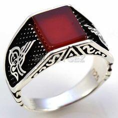 925 silver men ring square agate ottoman signature tugra - 7569