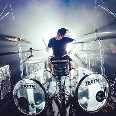 Valentino Arteaga from Of Mice and Men behind his Truth Custom Drums.