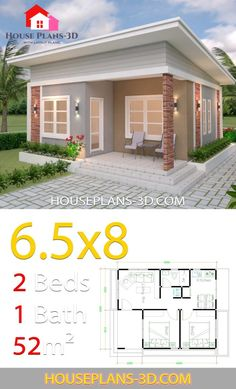 Plans petite maison moderne House Design Plans with 2 Bedrooms Shed Roof Tapping Your Child's Small House Layout, Modern Small House Design, Small House Interior Design, Simple House Design, Small Modern Home, Tiny House Design, House Layouts, Small House Interiors, 2 Bedroom House Design