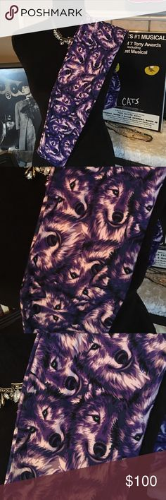 Lularoe Purple Wolves Vivid Green Eyes! OS NWT NWT OS 💕🔹🦄 LuLaRoe Other