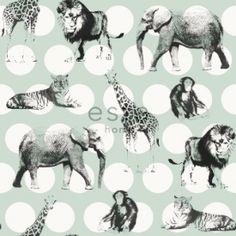 Behang Jungledieren Mint
