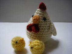 Bonnie & Crafts(手作): [編織圖] 公雞 / 小雞 (From 甘井りんご)