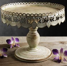 "Cake Stands White Metal 10"" Pedestal  $15.  I fear it'll look cheap in person, but golly it's cute."