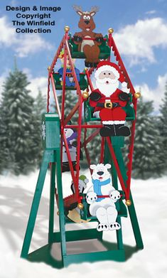 Christmas Ferris Wheel and Riders Plan Set Santa and five friends are having some fun before the big night! Colorful spinning display will be loved by all. #diy #woodcraftpatterns