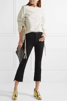 Mother - The Insider Crop High-rise Flared Jeans - Black - 29