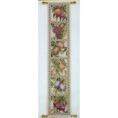Teresa Wentzler FRUIT BELL PULL Vintage Cross Stitch Kit Peaches Grapes Pears by NeedleLittleTherapy on Etsy Crewel Embroidery Kits, Finishing Materials, Vintage Cross Stitches, Winter Photos, Counted Cross Stitch Kits, Pears, Cool Designs, Fruit, Fabric