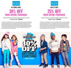 Pinned October 15th: 30% off everything at The #Childrens Place or online via promo code BLUEBAG30 - 25% at outlets #coupon via The #Coupons App