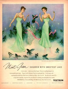 1949 Mint green lingerie gown slip women's fashion in Textron fabric print ad vintage Lingerie Gown, Green Lingerie, Pretty Lingerie, Vintage Lingerie, Lingerie Sets, Vintage Advertisements, Vintage Ads, Retro Outfits, Vintage Outfits