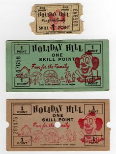 Holiday Hill- Vintage tickets.. Skee Ball, Branson Missouri, Carnival Wedding, Match Boxes, Over The Bridge, Forest Park, Carnivals, Amusement Parks, Vintage Ephemera