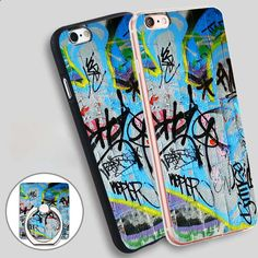 Wall Graffiti Phone Ring Holder Soft TPU Silicone Case Cover for iPhone 4 4S 5C 5 SE 5S 6 6S 7 Plus