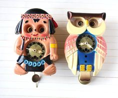 Retro Mi Ken Indian and Owl Mini Clock with Moving Eyes
