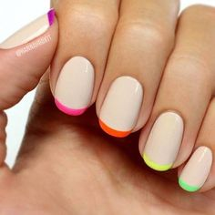 How pretty are these nails   #nailart #inspo #neon #nudetones