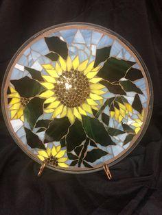 12 1/2 manchado plato mosaico cristal girasoles