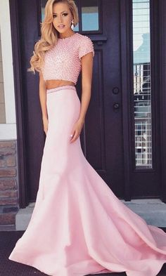 Two Piece Prom Dresses, Pink Prom Dresses, Two Piece Dresses, Two Piece Evening Dresses, outfit prom dresses Sheath/Column Scoop Sweep/Brush Train Satin Prom Dress/Evening Dress