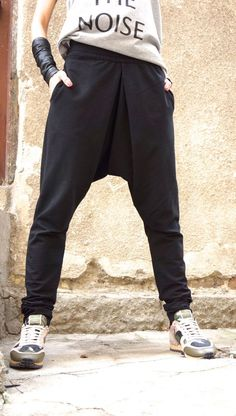 b3ce188293 NEW Collection Loose Casual Black Drop Crotch Harem Pants   Extravagant  Black Plated Pants Unisex