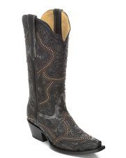 Women's Black Cowhide Snip Toe Boot - G1310, Black