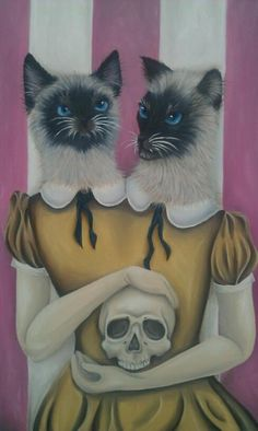 the siamese twins on roll up circus really take their name literally but couldn't decide who would get top billing in their rendition of shakespeares hamlet...alas poor yorrick you're not getting that skull back...flopsie and whoowhoo are having it for a cat toy