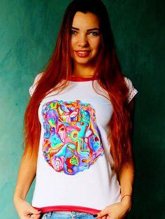 Hand Painted Women's Designer T-shirt Haute couture by VIadIsLove