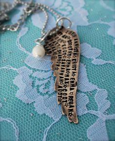 Hand stamped names necklace - grandkids- grandma- children- moms, Mothers Day, mom necklace. $45.00, via Etsy.