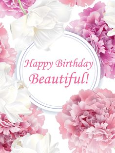 Send Free Romantic Tender Peony Happy Birthday Beautiful Card to Loved Ones on Birthday & Greeting Cards by Davia. Happy Birthday Woman, Happy Birthday Best Wishes, Happy Birthday Floral, Happy Birthday Gorgeous, Happy Birthday Images, Happy Birthday Greetings, Birthday Greeting Cards, Card Birthday, Birthday Quotes