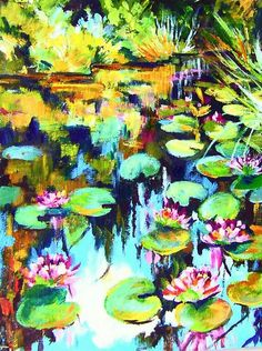 Monet's Water Lilies in Boom (A) Get a head start on this lesson. Watch it on the gingercooklive you tube for practice. Now lets do it again with the flowers. Fun Recorded #art #gingercookstudios