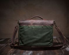 Mens Canvas Messenger Bag Leather Messenger Bag Laptop by Tram21
