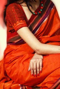 Orange Khadi Handloom Saree