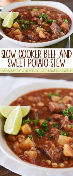 slow cooker beef and sweet potato stew with corn and chiles this smoky ...