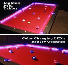 LIGHTED POOL TABLE - Pool tables are not just for bars anymore! Our lighted pool tables have a true slate-playing surface with red felt and black finish. These tables fit into a classic bar theme, or your glow event. Also available are felt surfaces in a variety of styles. Choose from the following: Masterpiece Tables (master artworks), Zebra skin, Leopard skin, Snow Drift, Water, Basketball, Football and Red Felt. Custom felts (corporate branding or special events) also available.
