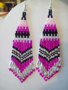 Native American Beaded Black Pink Siver by BeadedCreationsetc, $18.00