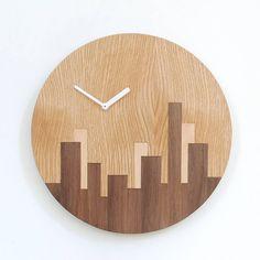 wooden city skyline clock by bloq | notonthehighstreet.com